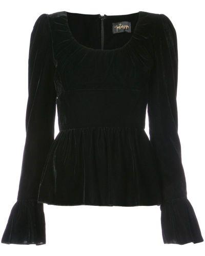Блузка с длинным рукавом с баской черная Petersyn