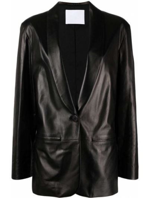 Черный кожаный классический пиджак на пуговицах Drome