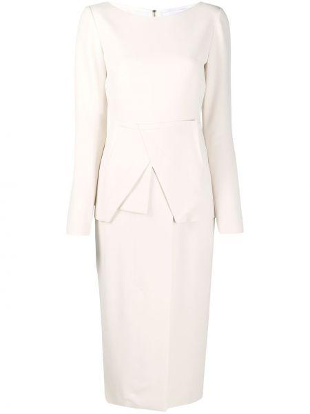 Biała sukienka długa z długimi rękawami z jedwabiu Roland Mouret