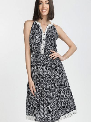 Прямое синее платье А-силуэта Gloss