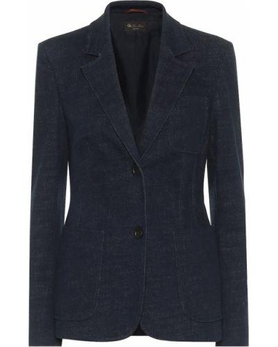 Ватный хлопковый синий пиджак стрейч Loro Piana