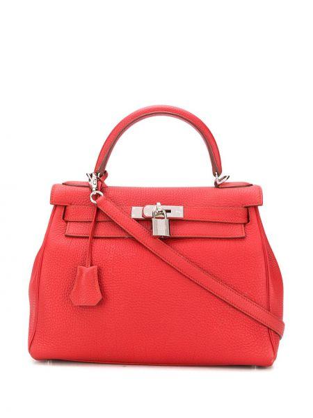 Красная кожаная сумка на плечо на молнии Hermes