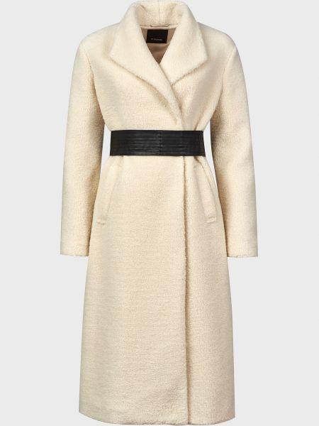 Белое пальто с поясом на кнопках Pinko