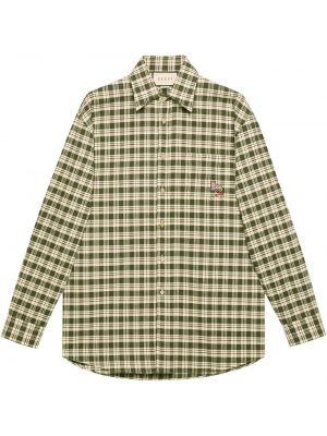 Klasyczny bawełna koszula klasyczna z kieszeniami z haftem Gucci