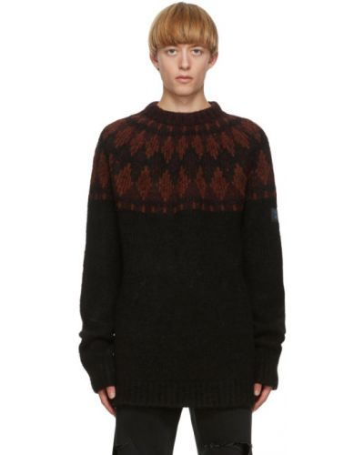 Красный шерстяной длинный свитер с воротником Raf Simons