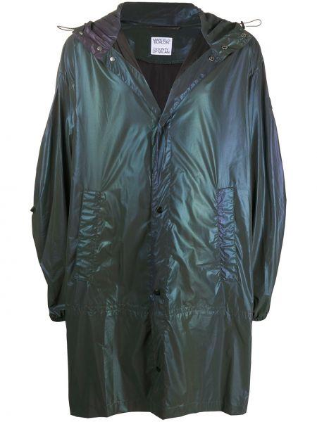 Czarny płaszcz przeciwdeszczowy z długimi rękawami z printem Marcelo Burlon County Of Milan