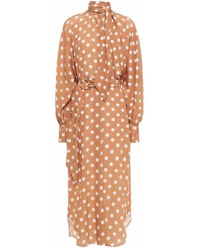 Шелковое платье миди с поясом с манжетами Zimmermann