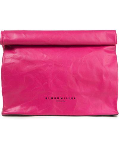 Różowa kopertówka skórzana Simon Miller