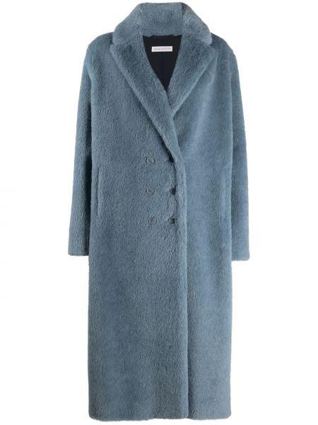 Синее длинное пальто из альпаки двубортное Inès & Maréchal