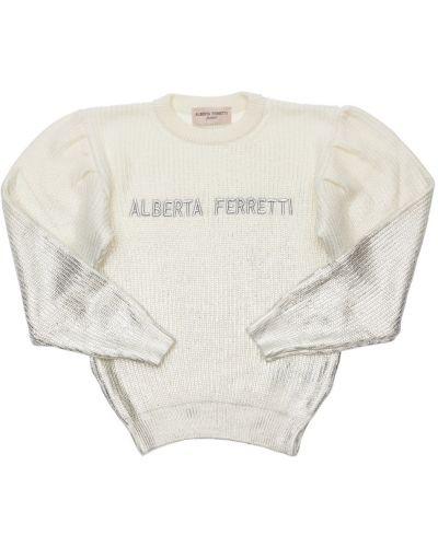 Biały sweter wełniany z haftem Alberta Ferretti