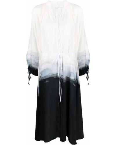 Шелковое платье макси с V-образным вырезом с принтом Isabel Benenato