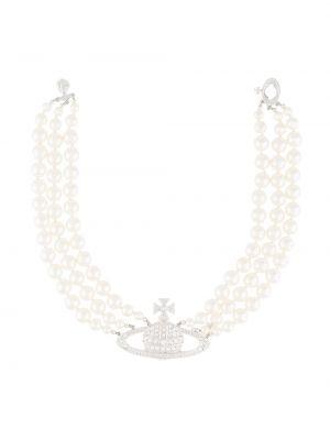 Белое ожерелье с жемчугом металлическое Vivienne Westwood