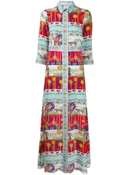 Шелковое прямое классическое платье макси с воротником Hayley Menzies