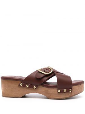 Chodaki skorzane na platformie klamry Ancient Greek Sandals