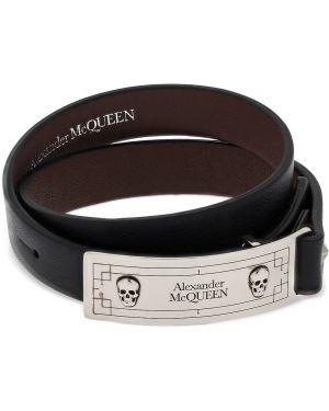 Bransoletka z czaszkami skórzany Alexander Mcqueen
