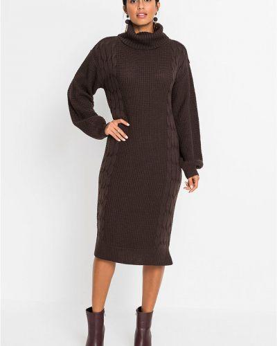 Вязаное платье макси - коричневое Bonprix