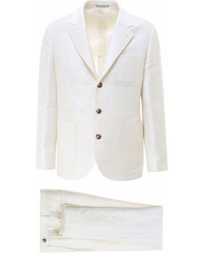 Biały garnitur ze spodniami z długimi rękawami zapinane na guziki Brunello Cucinelli