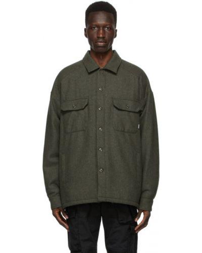 Зеленая стеганая длинная куртка с воротником Neighborhood