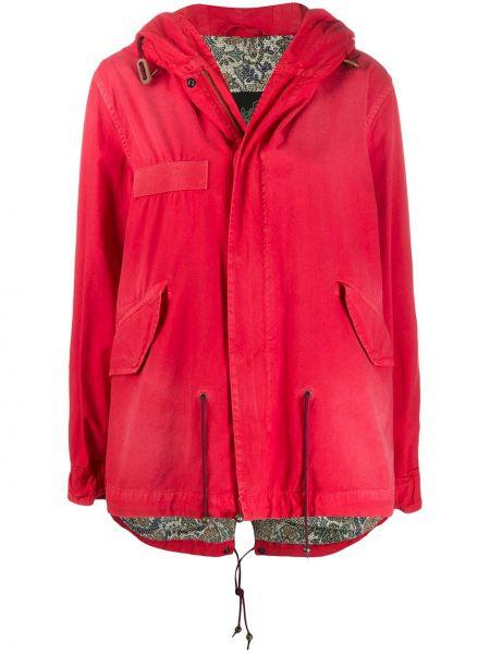 Хлопковая красная куртка с капюшоном на молнии с карманами Mr & Mrs Italy