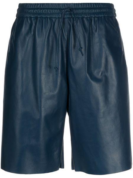 Синие кожаные шорты с карманами Drome