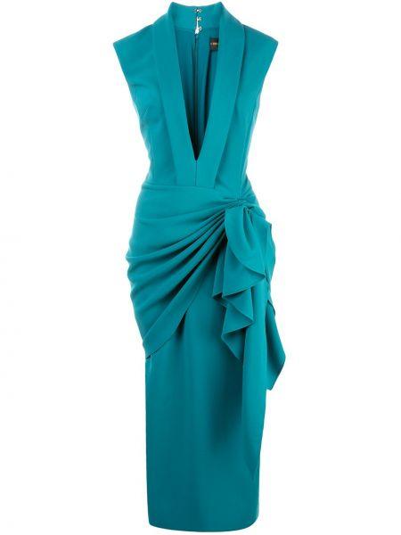 Niebieska sukienka z jedwabiu bez rękawów Christian Siriano