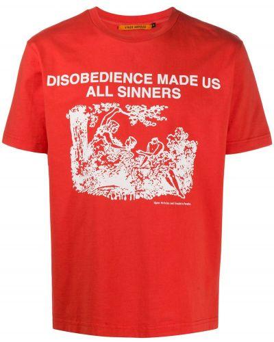 С рукавами красная хлопковая футболка с круглым вырезом Vyner Articles
