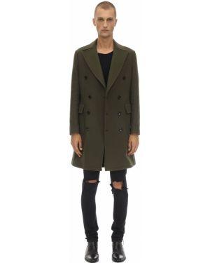 Zielony płaszcz wełniany z paskiem Bottega Martinese