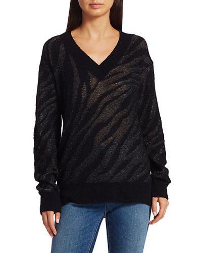 Czarny długi sweter wełniany z długimi rękawami Rag & Bone