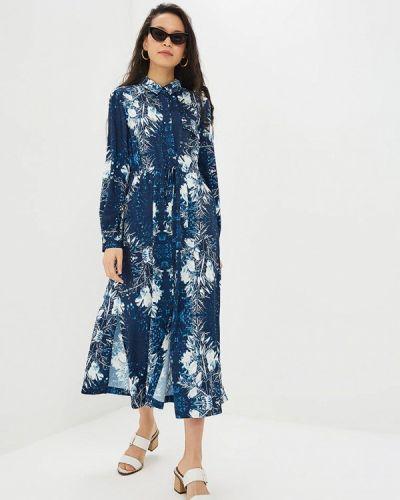Платье платье-рубашка синее Adolfo Dominguez