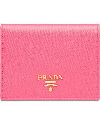 Кожаный кошелек мини розовый Prada