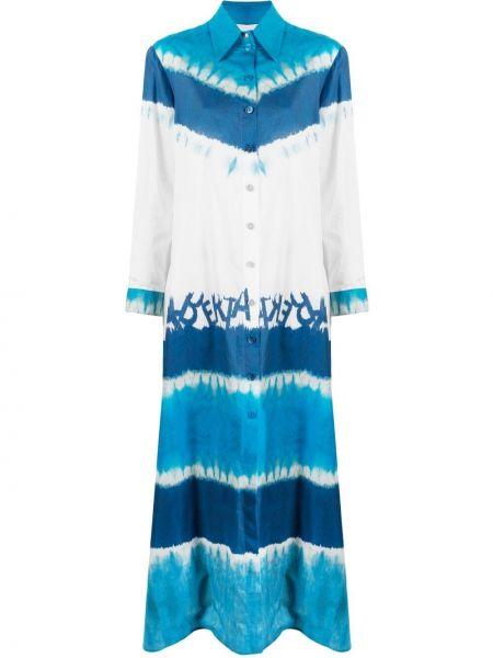 Платье рубашка - синее Alberta Ferretti