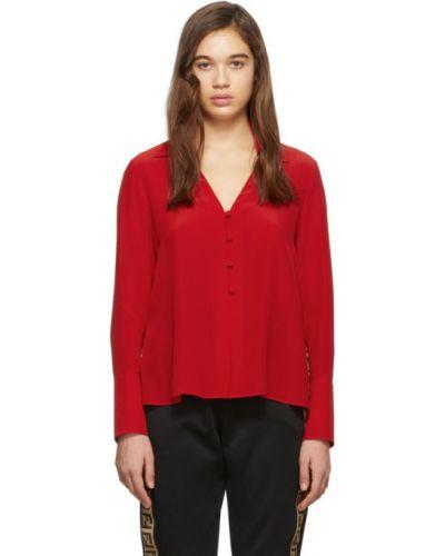 Блузка с длинным рукавом шелковая с воротником-стойкой Fendi