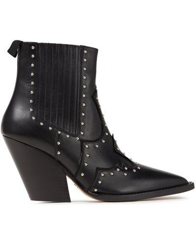 Czarne ankle boots zamszowe na obcasie Iro