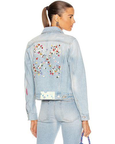 Синяя джинсовая куртка для полных с вышивкой Off-white