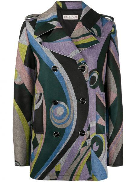 Черное длинное пальто двубортное на пуговицах Emilio Pucci