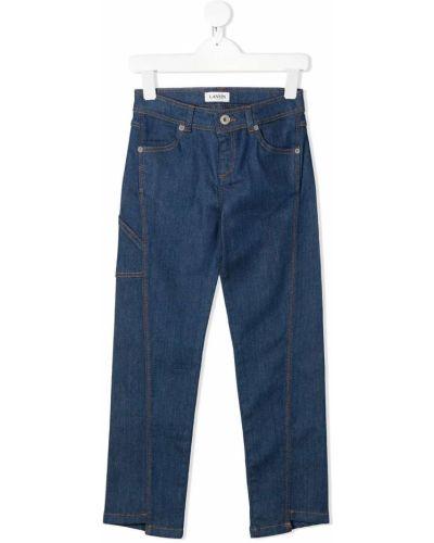 Прямые хлопковые синие джинсы с поясом Lanvin Enfant