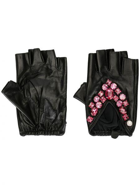 Кожаные черные кожаные перчатки Karl Lagerfeld