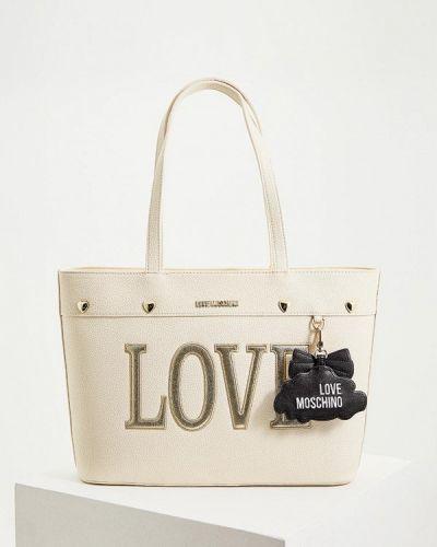 Кожаная сумка бежевый из искусственной кожи Love Moschino