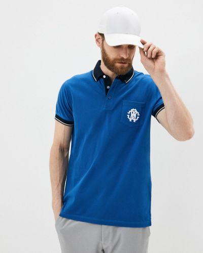 Синее поло с короткими рукавами Roberto Cavalli