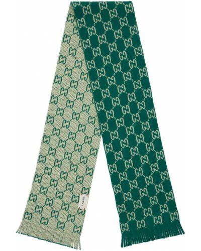 Wełniany szalik frędzlami Gucci