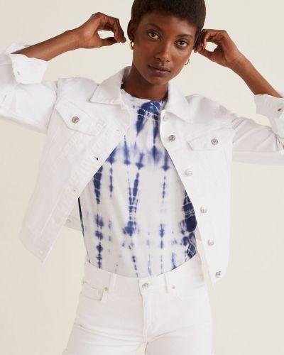 Джинсовые шорты белые с заниженной талией Mango