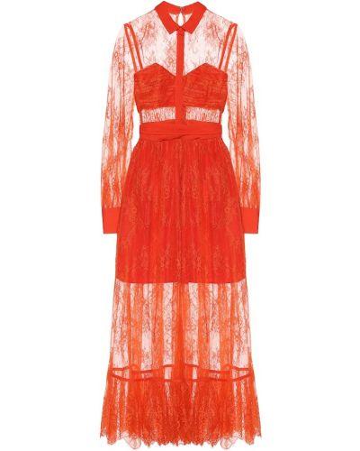 Платье миди с кружевными рукавами Self-portrait