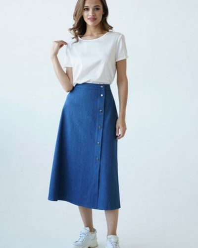 Хлопковая повседневная синяя джинсовая юбка с разрезом Vovk