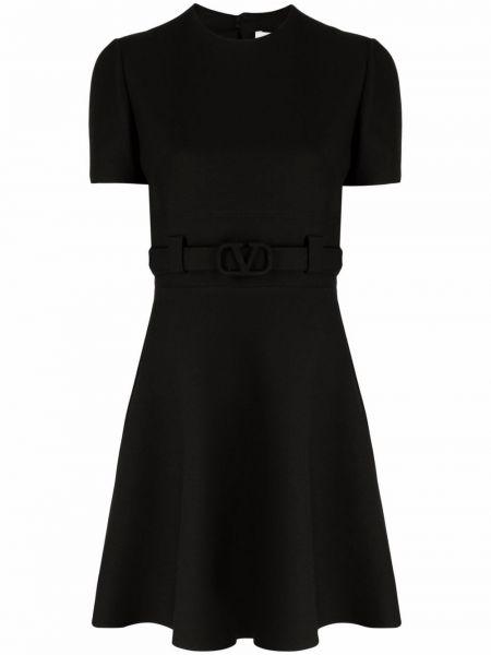 Черное расклешенное платье Valentino