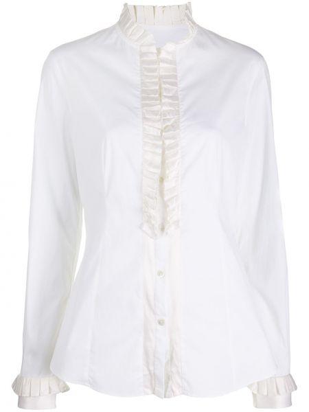 Шелковая белая рубашка с высоким воротником Dolce & Gabbana