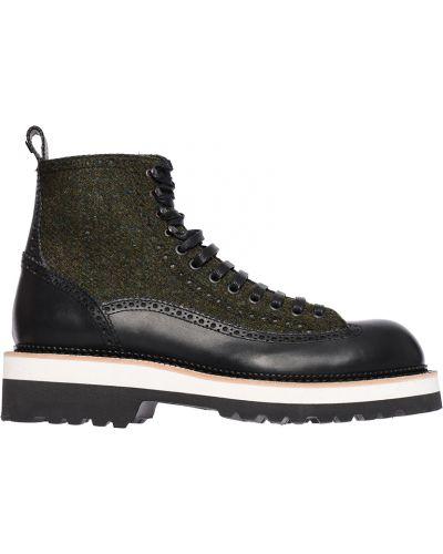 Кожаные ботинки осенние черные Dsquared2