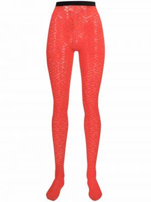 Красные колготки прозрачные Versace