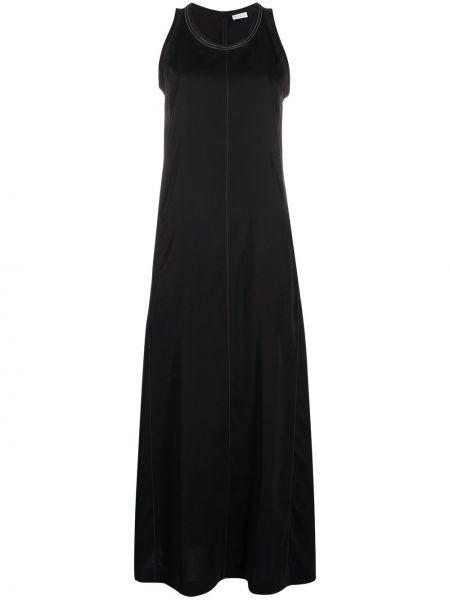 Черное платье макси с вырезом без рукавов Brunello Cucinelli