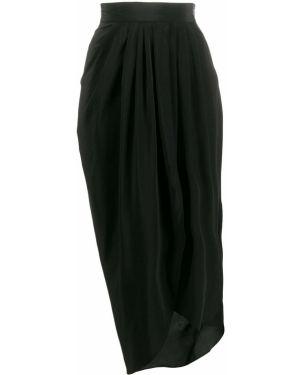 Черная юбка миди с запахом в рубчик Unconditional
