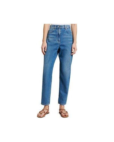 Хлопковые синие с завышенной талией джинсы Luisa Spagnoli